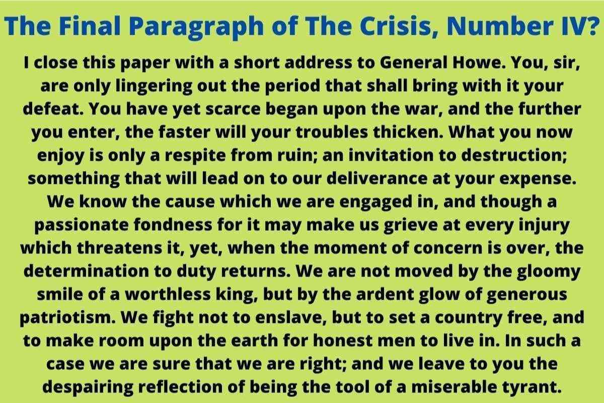 which is the best summary of the final paragraph of the crisis, number iv, last paragraph