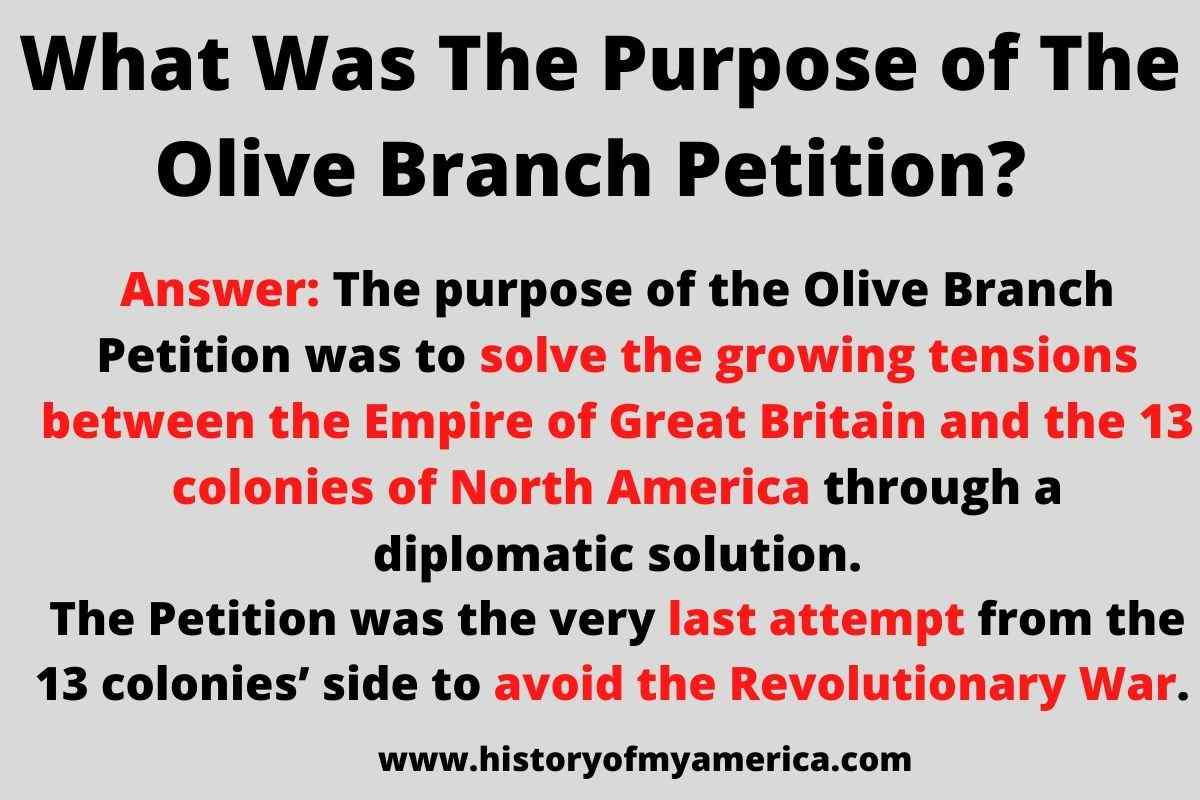 What Was The Purpose of The Olive Branch Petition